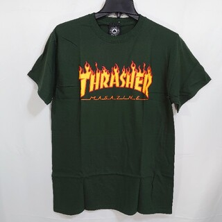 THRASHER - 【M】THRASHER スラッシャー/半袖Tシャツ/フレームロゴ プリント/緑
