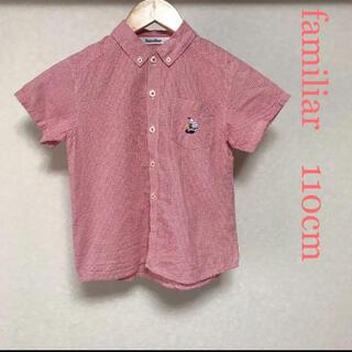 familiar - ファミリア 半袖ボタンダウンシャツ 110cm くまちゃん刺繍 レッド