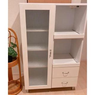 フランフラン(Francfranc)の美品 フレンチカントリー キッチンラック カップボード 食器棚 ナチュラル(キッチン収納)
