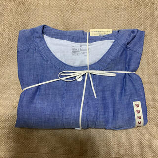 MUJI (無印良品) - 無印良品 脇に縫い目のない 細番手二重ガーゼ七分袖パジャマ 婦人 ブルー