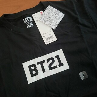 ボウダンショウネンダン(防弾少年団(BTS))の新品未使用☆ユニクロ×BT21 コラボTシャツ 黒 M(Tシャツ/カットソー(半袖/袖なし))