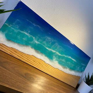 杉の木 レジンアート 海アート エポキシレジンアート インテリア 壁掛け(アート/写真)