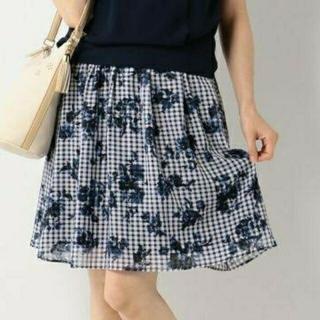 エニィスィス(anySiS)のany SiS チェック×花柄 スカート(ひざ丈スカート)