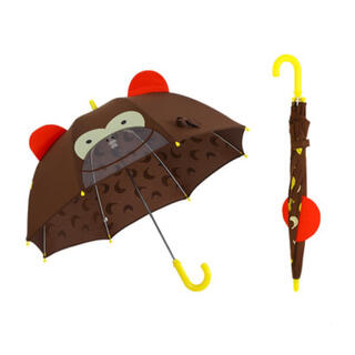 【海外製品】傘 キッズ 子供 アニマル 耳 透明窓 付き 手動 8本骨 ブラウン(傘)