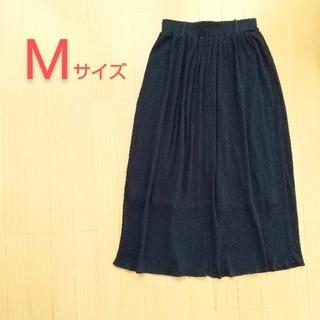 シマムラ(しまむら)のロングスカート  Mサイズ  ネイビー  84cm  シワ加工(ロングスカート)