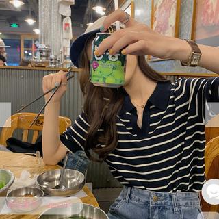 GOGOSING - 韓国ファッション ボーダー ポロシャツ