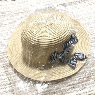 petit main - プティマイン 折りたたみリボンハット 麦わら帽子