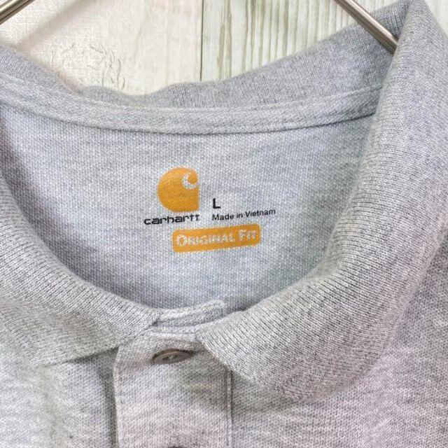 carhartt(カーハート)の【唯一無二】カーハート 企業ロゴ ポロシャツ シャツ グレー 半袖 古着 メンズのトップス(ポロシャツ)の商品写真