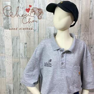 carhartt - 【唯一無二】カーハート 企業ロゴ ポロシャツ シャツ グレー 半袖 古着