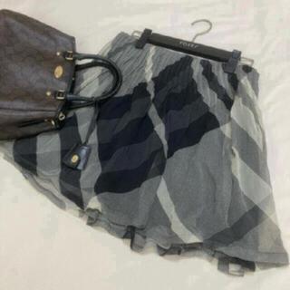 バーバリー(BURBERRY)の美品 バーバリー ロンドン シルク スカート チェック 160 卒業 フォーマル(スカート)