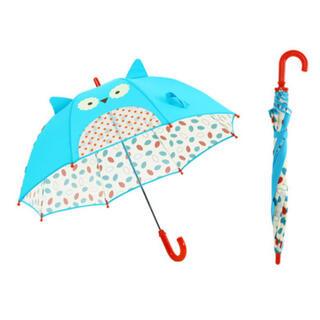 【海外製品】傘 キッズ 子供 アニマル 耳 透明窓 付き 手動 8本骨 ブルー(傘)