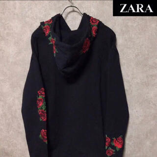 ZARA - 即完売品 ZARA MAN ザラ 薔薇刺繍 パーカーフーディ