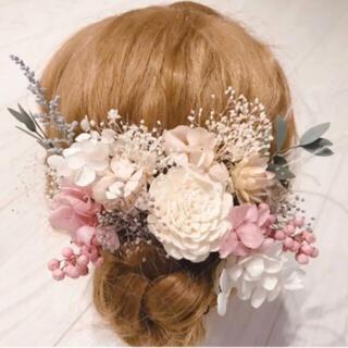 【新品】ドライフラワーヘッドドレス 髪飾り(ヘッドドレス/ドレス)