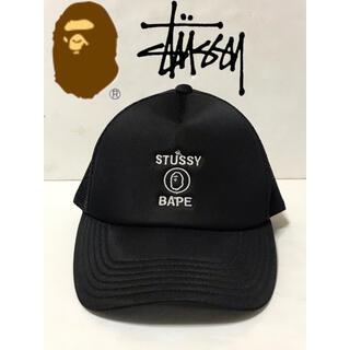 アベイシングエイプ(A BATHING APE)のAPE×STUSSY メッシュキャップ 帽子 エイプ ステューシー(キャップ)