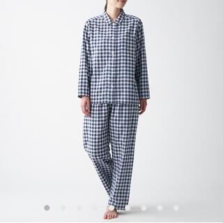 無印良品 脇に縫い目のない 二重ガーゼパジャマ婦人S~M・ネイビー×チェック