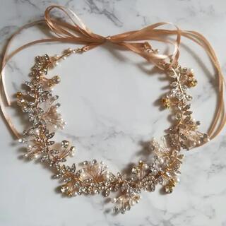 【新品】ビジューリーフの小枝ヘッドドレス ゴールド(ヘッドドレス/ドレス)