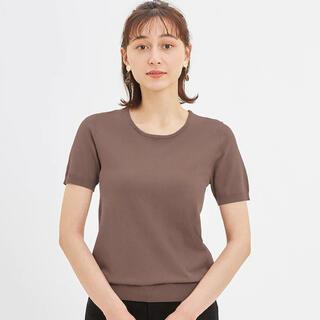 GU - 新品 GU クルーネックセーター(半袖) Mサイズ ブラウン 茶色 半袖ニット