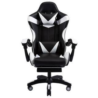 白 ゲーミングチェア 椅子 クッション付き リクライニング 在宅 動画配信 黒(ハイバックチェア)