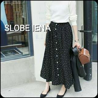 IENA SLOBE - SLOBE IENA ロングスカート ドット 黒 フレアスカート M L  春