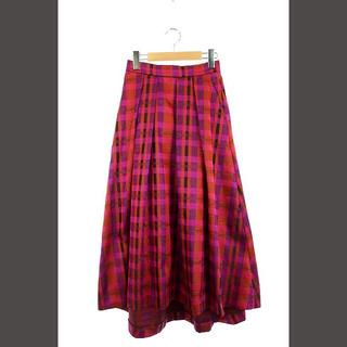グレースコンチネンタル(GRACE CONTINENTAL)のグレースコンチネンタル チェックフレアスカート マキシ丈 36 黒 紫 オレンジ(ロングスカート)