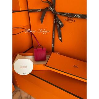 エルメス(Hermes)の新品 エルメス オレンジショッピングバッグチャーム ローズメキシコ(バッグチャーム)
