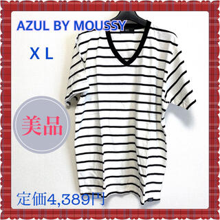 AZUL by moussy - アズールバイマウジー 天竺ボーダーVネック半袖T Tシャツ