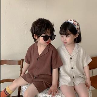 ザラキッズ(ZARA KIDS)の✳︎韓国子供服✳︎  コットン リネン シャツ  パンツ セットアップ パジャマ(ブラウス)