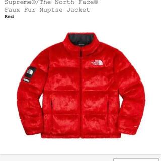 シュプリーム(Supreme)のSupreme THE NORTH FACE Faux Fur Nuptse赤L(ダウンジャケット)