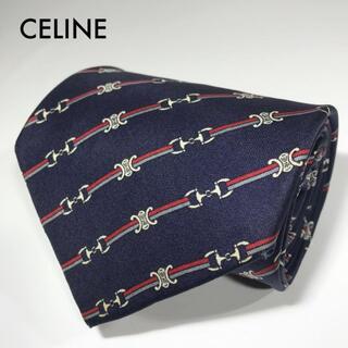 セリーヌ(celine)のセリーヌ スペイン製 高級シルク ネクタイ ワイドタイ ストライプ マカダム(ネクタイ)
