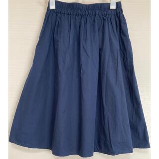 エヘカソポ(ehka sopo)のタイプライターギャザースカート ネイビー(ひざ丈スカート)
