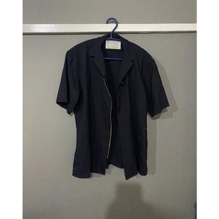 カラー(kolor)のkolor 半袖 開襟シャツ ネイビー サイズ2 トロピカルウール(Tシャツ/カットソー(半袖/袖なし))
