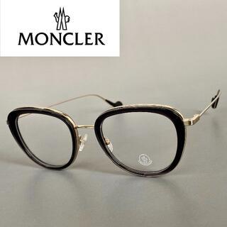 モンクレール(MONCLER)のモンクレール グレー フルリム ボストン メガネ 眼鏡 めがね ML 度入り(サングラス/メガネ)