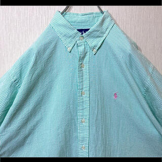 ラルフローレン BDシャツ グリーンストライプ ピンクポニー オーバーサイズ