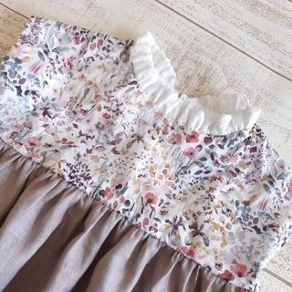 Bonpoint - ハンドメイド受注製作[90~110]立ちフリル衿のフレンチスリーブワンピース