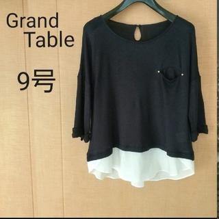グランドテーブル 透け感のある サマーニット  9号 ネイビー(カットソー(半袖/袖なし))