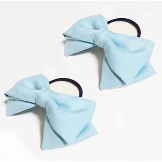 水色リボン ヘアゴム 2個 髪飾り コスプレ衣装小物 ハンドメイド アリス(ヘアゴム/シュシュ)