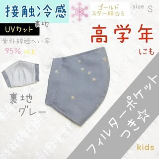 グレー 星柄 ❤ 接触冷感 フィルターポケット インナー マスク 男の子 子供(外出用品)