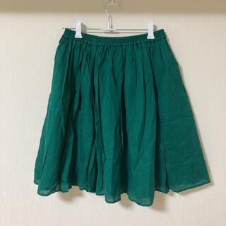 緑色のコットンひざ丈スカート