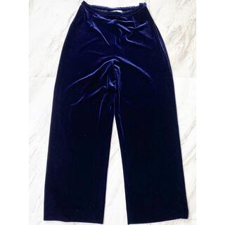 トーガ(TOGA)のvintage 90s ベロア ベルベット ネイビー 紺色 ワイド 袴パンツ(カジュアルパンツ)