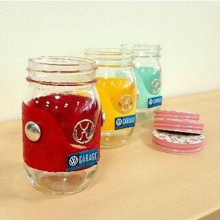R0608a ワーゲンガラス瓶☆3個セット(リメ缶・リメ鉢)(その他)