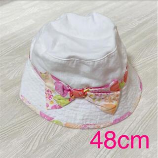 ニシマツヤ(西松屋)の女の子 春夏 リボン帽子 48cm(帽子)