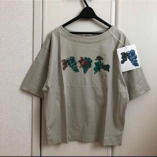 スタディオクリップ(STUDIO CLIP)の【新品】studioClipボートネック ぶどう柄プリントTシャツ(Tシャツ(半袖/袖なし))