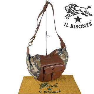 IL BISONTE - 美品 カモフラ レザー x キャンバス ILBISONTE ショルダーバッグ
