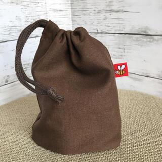 新品 ハンドメイド コップ袋 巾着 リネン 茶色 ブラウン ハチ(外出用品)
