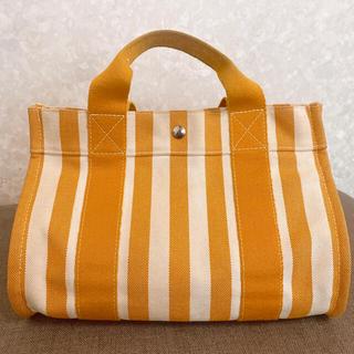 Hermes - エルメス カンヌPM 美品 オレンジ HERMES ストライプキャンバスバッグ