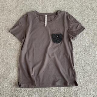 ミナペルホネン(mina perhonen)の美品アンティパストANTIPASTグレーTシャツ1綿コットン半袖(Tシャツ(半袖/袖なし))