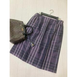 バーバリー(BURBERRY)の美品 バーバリー ロンドン シルク スカート チェック 大きいサイズ 44(ひざ丈スカート)