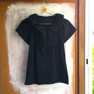 エーティー(A/T)のアツロウタヤマ フリルプルオーバー 黒(シャツ/ブラウス(半袖/袖なし))