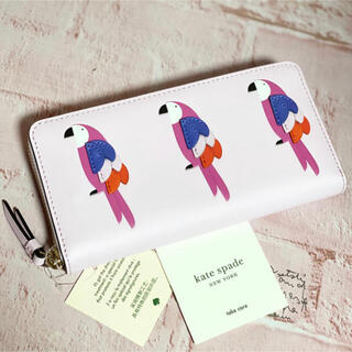 kate spade new york - wlru6242 ケイトスペード 長財布 とり ピンク