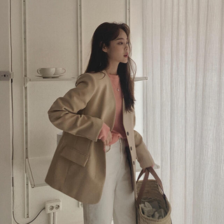 STYLENANDA - Laurenhi maybe baby ベージュ ノーカラー ジャケット 韓国